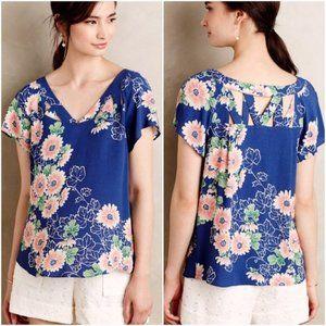 ANTHROPOLOGIE Tri Cut Blouse Blue Floral {VV38}